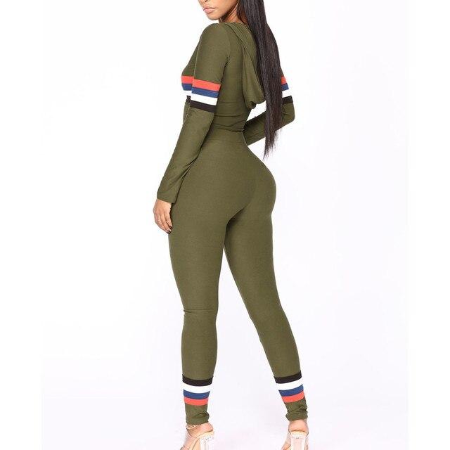 Free Ostrich 2018 Autumn 2 Piece Set Women Tracksuit Sportswear Casual Sweat Pants Hooded Cropped Sweatshirt Hoodie N30 1