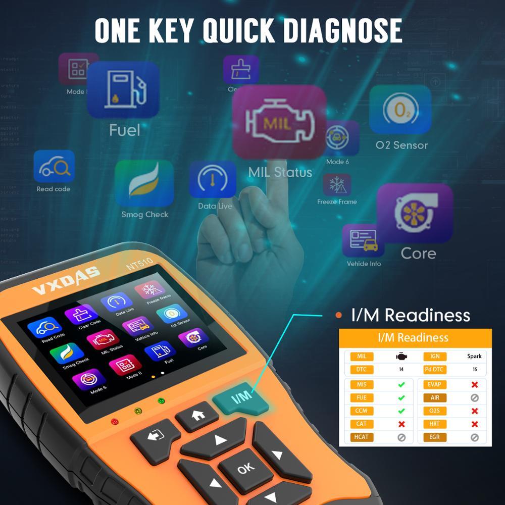 Image 4 - VXDAS Авто/автомобильный диагностический инструмент полная система полное покрытие модели Покрытие модель русский обновленный код ReaderOBD2 сканер NT510 12 В