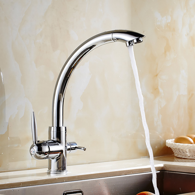 Chrome/Black Kitchen Faucet Brass Crane For Kitchen Deck Mounted Water Filter Tap Three Ways Sink Mixer 3 Way Kitchen Faucet цена