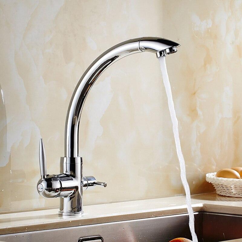 Chrome/noir robinet de cuisine en laiton grue pour cuisine pont monté filtre à eau robinet trois voies évier mélangeur 3 voies robinet de cuisine