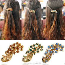 Fashion Gold Plated Lovely Peacock Hairpins Rhinestone Hair Jewelry Alloy Hair Accessories for Women