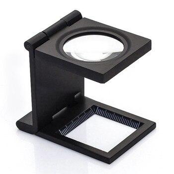 8da8a360fa3adb 9005D 10x Escritorio de Metal 2 lupa LED lente óptica negro plegable tela  de impresión lupa con lupa puntero de escala