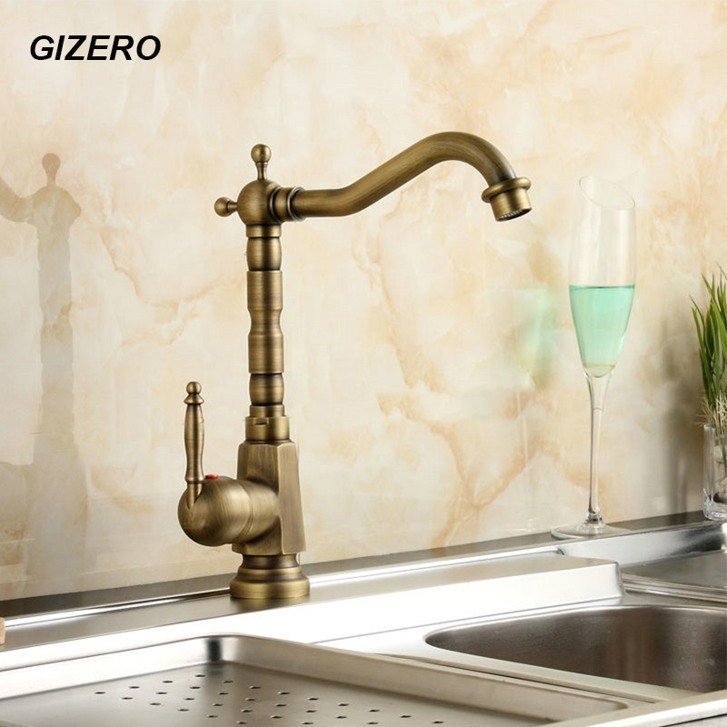 Kitchen Hot Can Cold Mixer Antique Copper Finish 360 Swivel Rotation Spout Basin Sink Mixer Tap