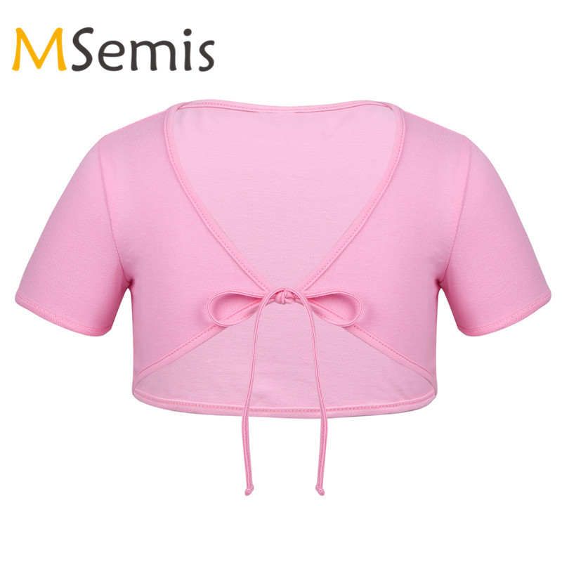 MSemis Kids Girls Cotton Bolero Cardigan Short Sleeve Wrap Tops Shrug Ballet Dance Gymnastics Activewear