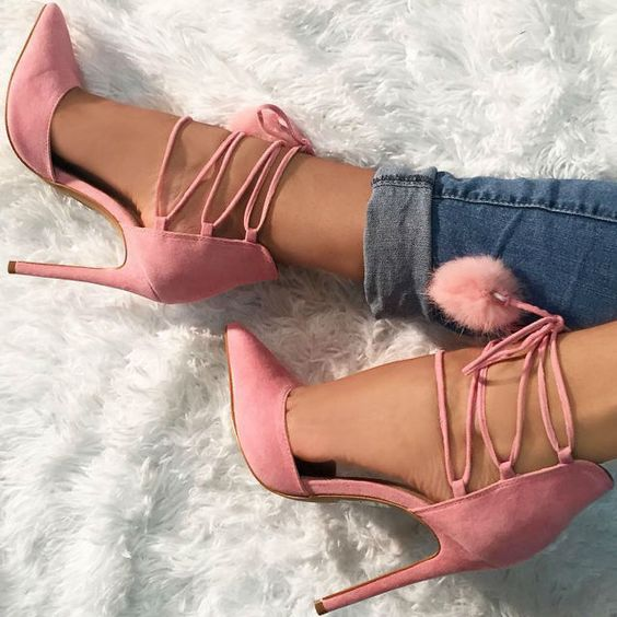 Girls Sweety Pink Suede Lace-up Sandals 2018 Fur Ball Embellished Pointed Toe Woman Pumps Stiletto High Heels Dress Shoes Lady lace up cross strap lady rhinestone sandals suede woman thin heels crystal embellished lady sandals party dress high heels shoes