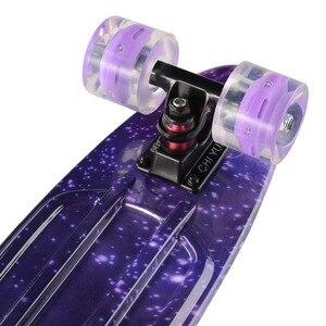 "Image 3 - Grafik Gedruckt Skateboard Galaxy Lila Blau Kunststoff Mini Cruiser Board 22 ""X 6"" Retro Longboard Skate Bord"