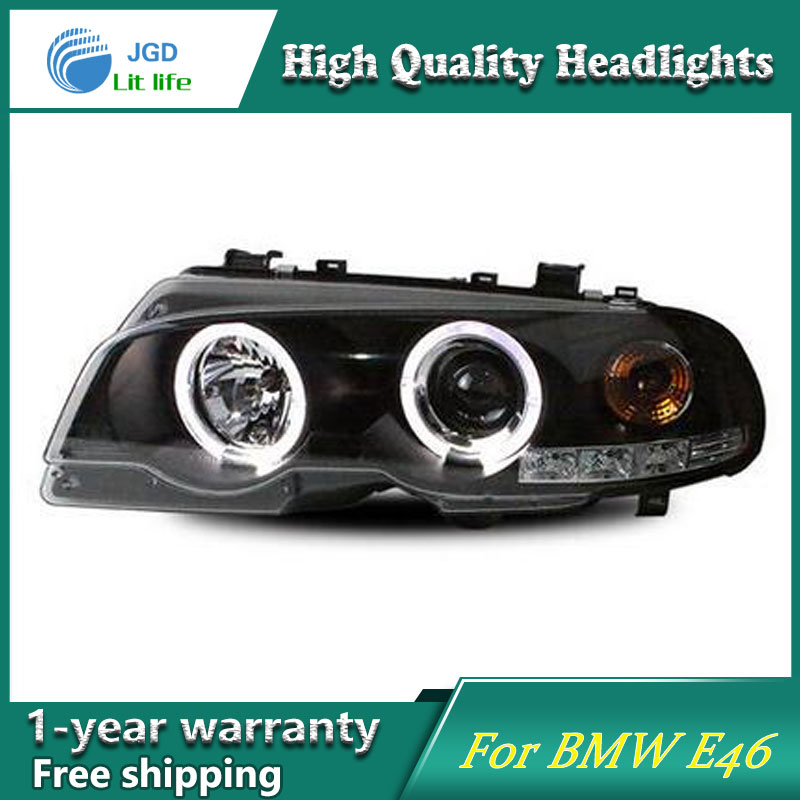high quality Car styling case for BMW E46 Headlights LED Headlight DRL Lens Double Beam HID Xenon hireno headlamp for 2016 hyundai elantra headlight assembly led drl angel lens double beam hid xenon 2pcs