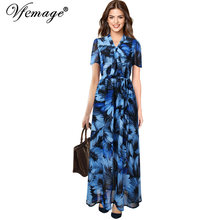 Vfemage Womens Elegant Summer Tie Bow Neck Print Chiffon Belted Elastic Waist Party Club Casual Beach A-Line Maxi Long Dress 053(China)