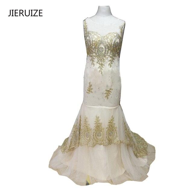 JIERUIZE Champagner Gold Spitze Meerjungfrau Abendkleider Lange ...