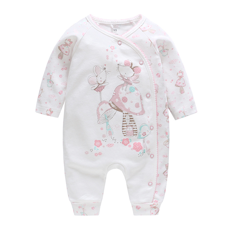 Baby Clothing 2019 New Autumn Pure Cotton Girls   Rompers   One Piece Animal White Jumpsuits Cute Baby Pajamas High Quality Clothes