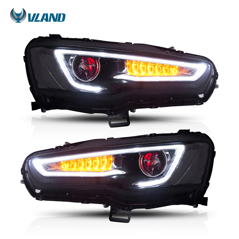 Vland Voiture Style Chef Lampe Pour Mitsubishi Lancer Phare 2008-2017 Led Phares Avec Démon Yeux