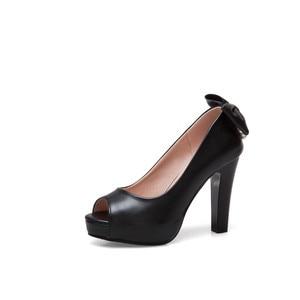 Image 5 - YMECHIC 2019 White Wedding Shoes Bride Women High Heel Pumps Peep Toe Slip Bowtie String Bead Ladies High Heels Shoes Plus Size