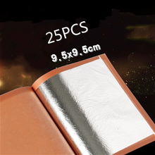 25PCS 9.5X9.5cm  Pure Edible Silver Leaf and Gold leaf, 99.99% Good Quality, Free Shipping