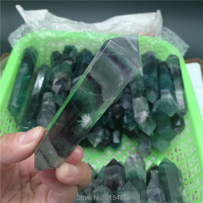 Wholesale top quality fluorite crystal wand gemstone crystal point healing wand