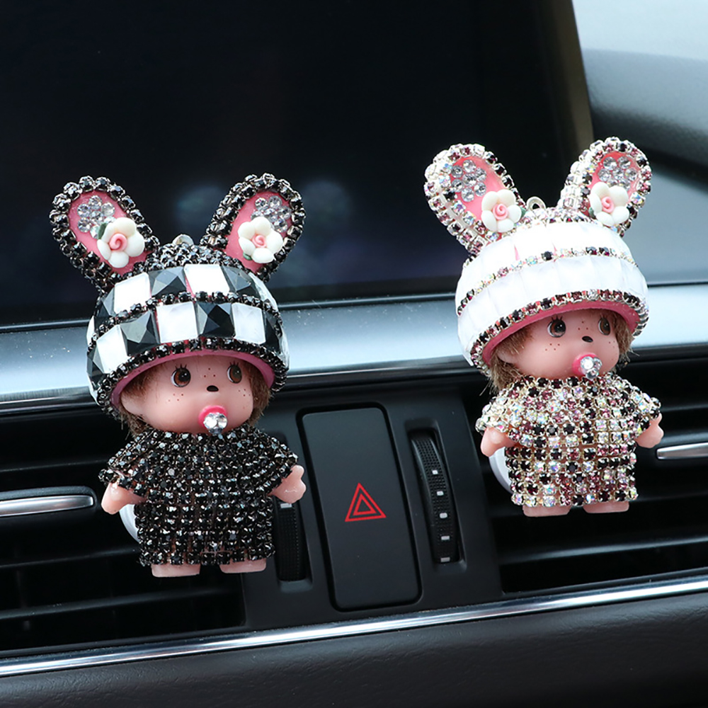 Car Perfume Clip For Monchichi Doll Diamond Cute Decoration Auto Vent Outlet Air Freshener Fragrance Smell Diffuser Accessories car air conditioner outlet vent clip mini fan aircraft head air freshener perfume fragrance scent inner aromatherapy