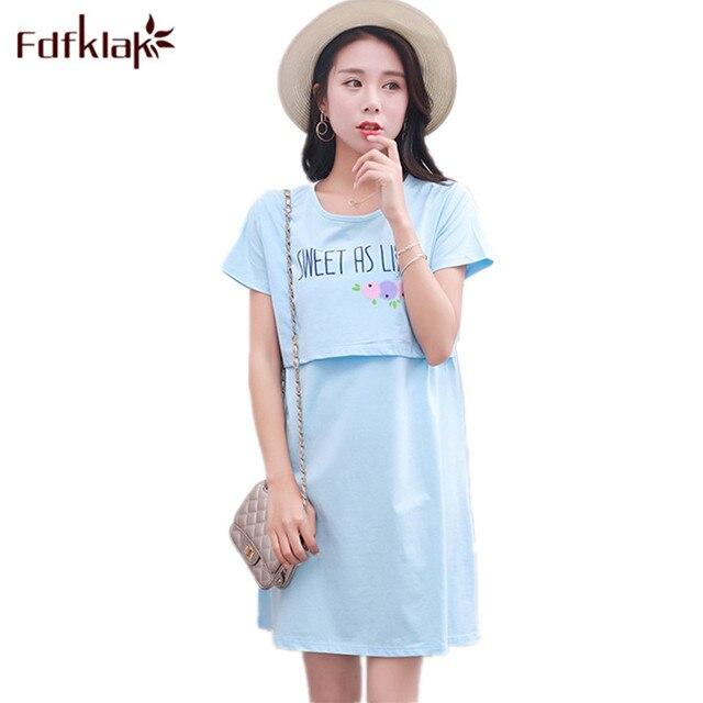 dafaa35946612 Fdfklak Summer Short Sleeve For Feeding Clothes Dressing Gown For Pregnant  Women Maternity Sleepwear Nursing Night Gown F134