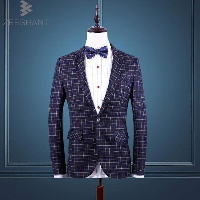 ZEESHANT Brand Clothing Party Suits For Men Blazer Masculino Blazer Jacket 5XL 6XL Check Dress Fromal Suit in Men's Suit Jackets