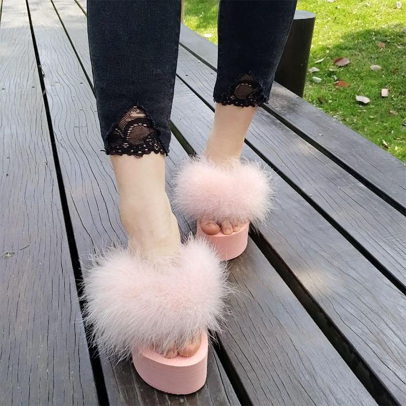 Image 2 - slippers platform wedge slippers fur sliders furry slides womens slides shoes slip on sandals black shoes for women light loafer-in Slippers from Shoes