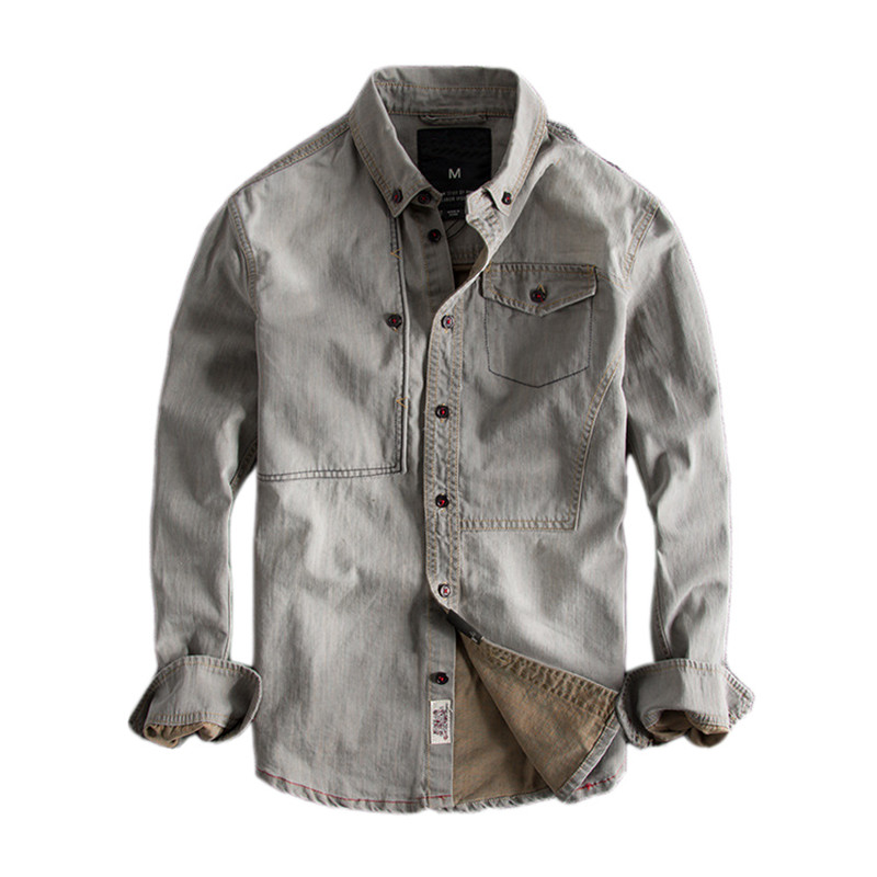 Japanese Harajuku Retro Rinse Denim Shirt for Men Urban Boys Casual Streetwear Vintage Distressed Button Down Long Sleeve Shirts
