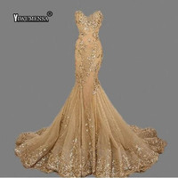 Robe De Soiree Longue 2018 Luxury Gold Sequins Evening Dress Custom Made Sweetheart Mermaid Long Evening Dresses Sexy Bride Gown