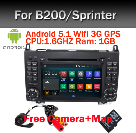 Quad Core 1024*600 Pur Android 5.1 LECTEUR DVD de VOITURE pour Mercedes/benz B200 W169 A160 Viano Vito GPS NAVI RADIO BT wifi intégré