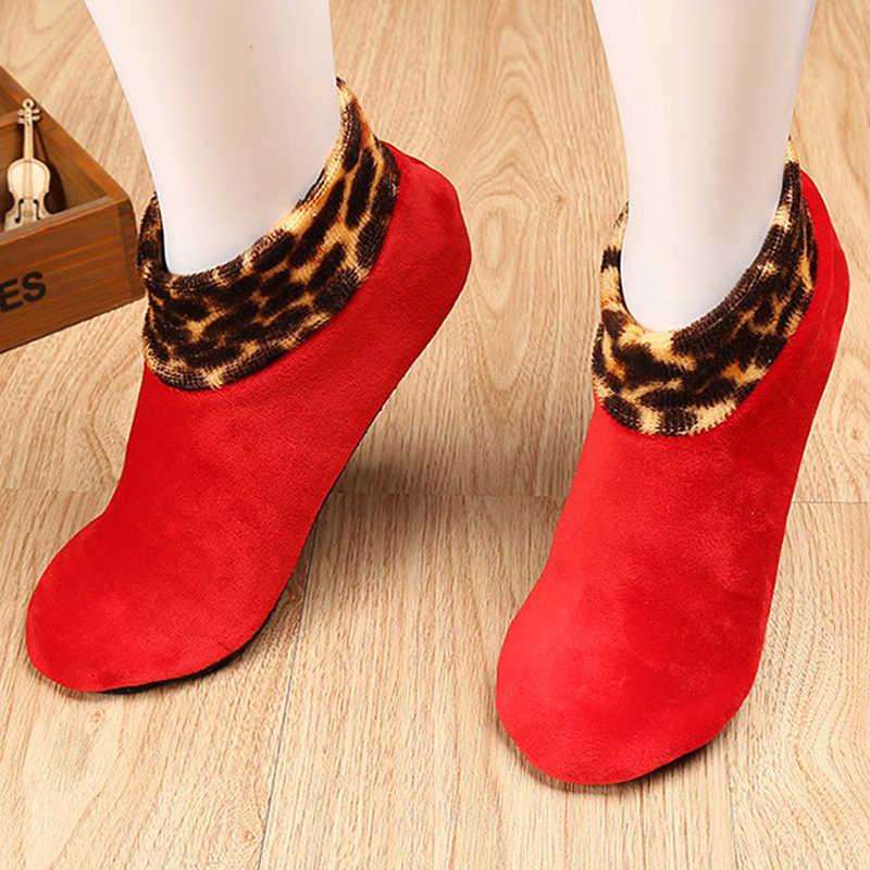 Women Winter Warm Thicken Leopard Bed Non Slip Home Indoor Floor Socks Slipper