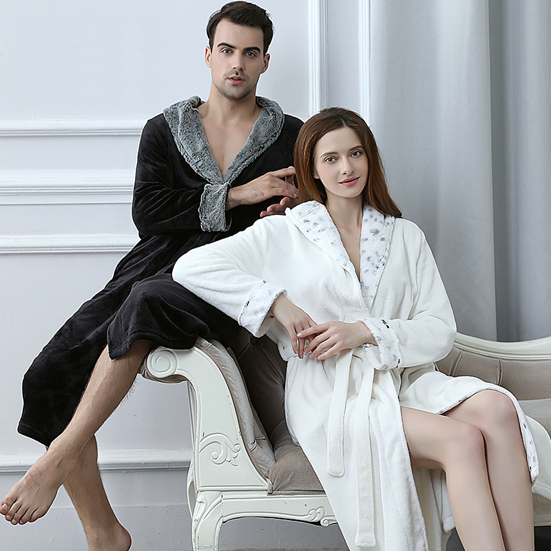Men Women Fur Neck Thick Flannel Warm Long Bathrobe Male Winter Kimono Bath Robe Mens Dressing Gown Fleece Thermal Nightgowns
