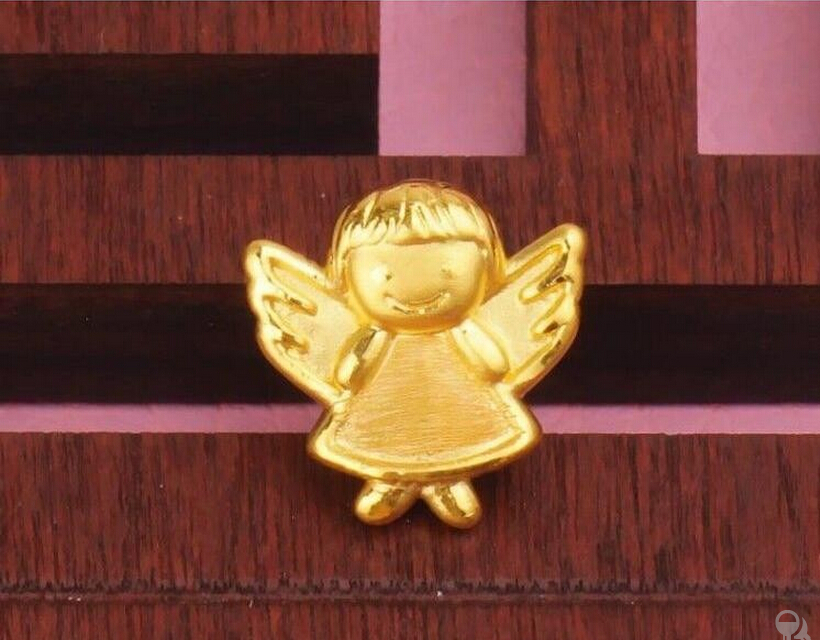 Hot Sale Pure 999 24K Yellow Gold Pendant / 3D Bless Carved Angel Bracelet Pendant 1G icon