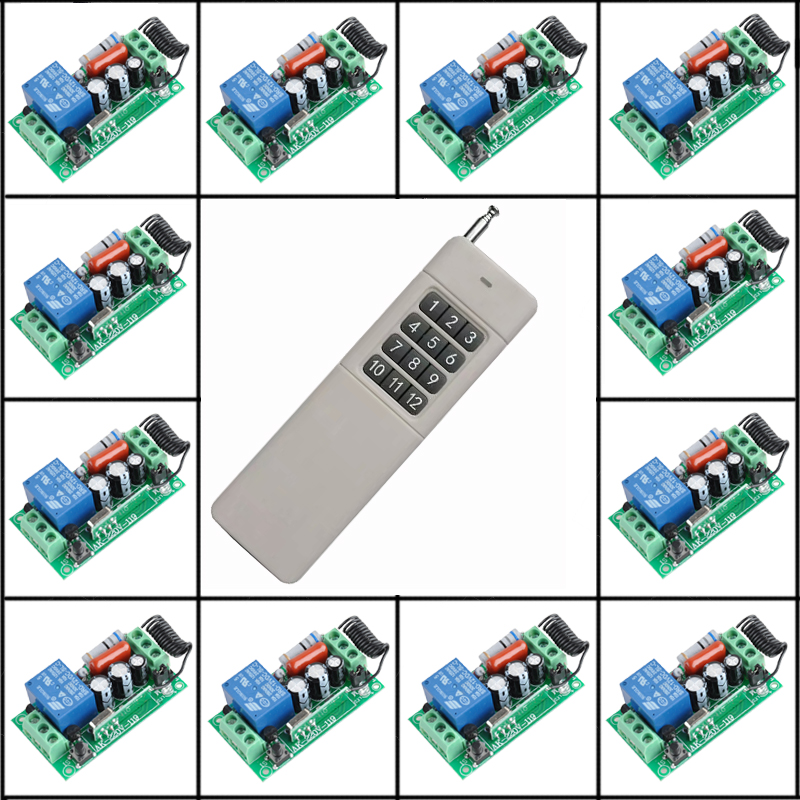 12 Receiver + 200-3000m Transmitter AC 220V 10A Wireless Remote Control Switch Wireless Light Switch With Learning Code System new restaurant equipment wireless buzzer calling system 25pcs table bell with 4 waiter pager receiver