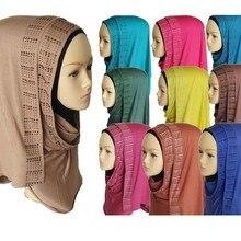 12 шт./лот) Джерси хлопок со стразами мусульманин длинный шарф исламский хиджаб шарф разных цветов QK007