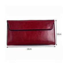 Hot New Fashion Elegant Genuine Leather Women Wallet Long Thin Purse Woman Brand Designed 2017 Solid Red Cards Holder Clutches