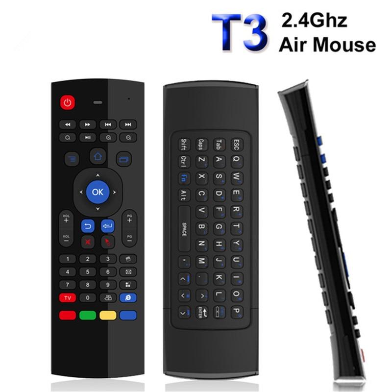 44 T3M 2.4G Air Mouse teclado Sem Fio Russo Aprendizagem IR busca por voz do Microfone para Android Smart TV Box PK MX3 t3 Controle Remoto