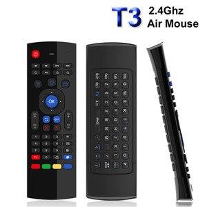 Image 1 - T3M 2,4G Air Maus Drahtlose Tastatur Russische 44 IR Lernen Mic Voice Suche Für Android Smart TV Box PK MX3 t3 Fernbedienung