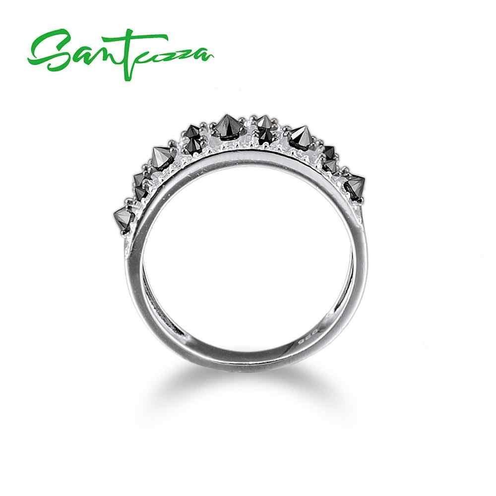 SANTUZZA แหวนเงินผู้หญิงสีดำ spinels แหวนหิน AAA Cubic Zirconia แหวนเงินแท้ 925 แฟชั่นเครื่องประดับ