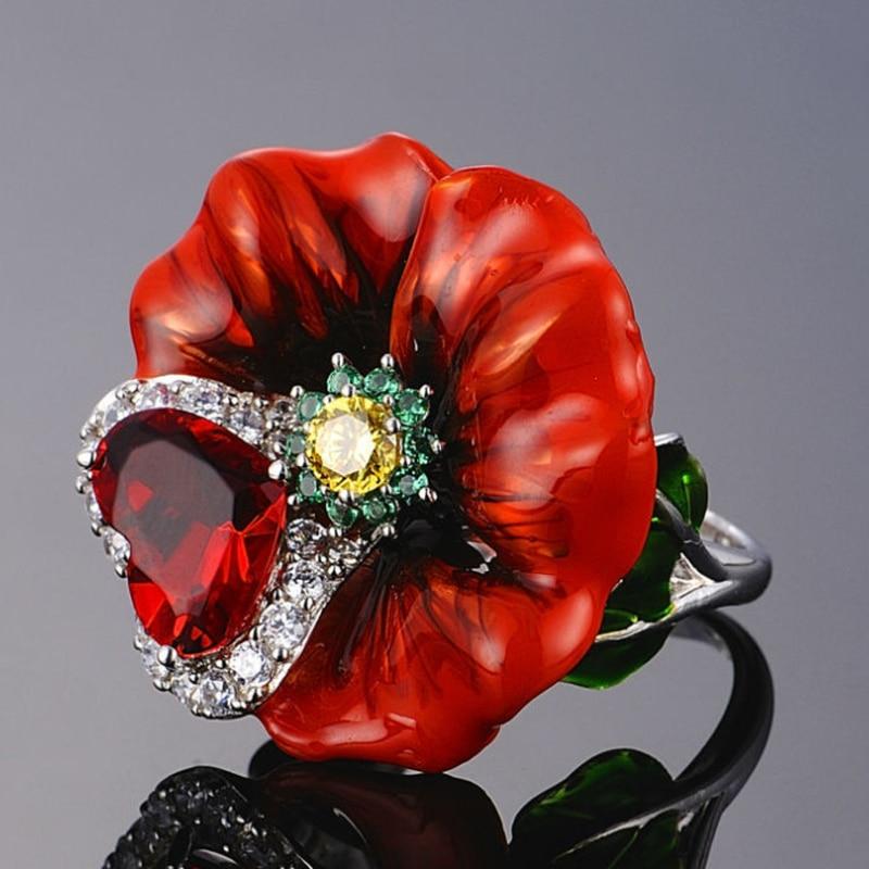 Utimtree Luxus Blume Ringe Für Frauen Party 925 Sterling Silber Kreative Rote Rose Blume Ring Mode Schmuck Handmade Emaille