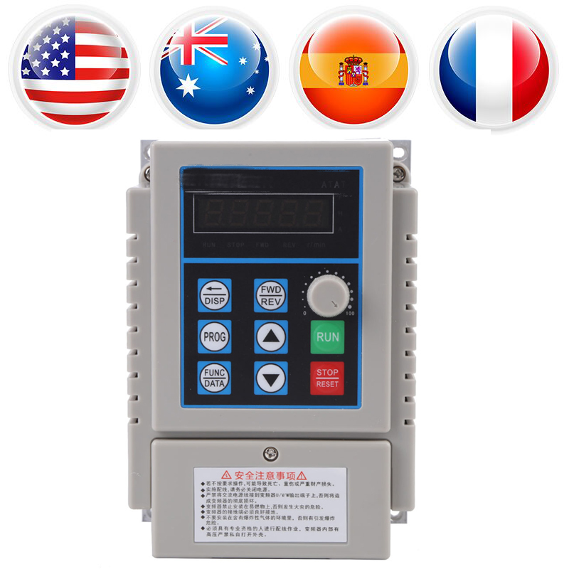 1Pcs AC 220V 0.75kW Variable Frequency Drive VFD Speed Controller Inverter Single Phrase Inverter Motor Drive Low voltage baileigh wl 1840vs heavy duty variable speed wood turning lathe single phase 220v 0 to 3200 rpm inverter driven
