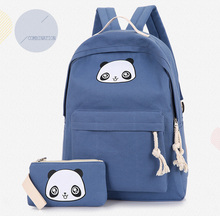 Ткань встряхнуть Новинка 2017 года панда Рюкзаки для подростков для девочек и мальчиков школьная сумка коробка Рюкзаки с пенал держатель сумка милый рюкзак