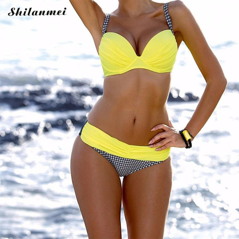 2018 Bikini Set Low Waist Bikinis Swimwear Women Swimsuit Grid Bottom Bathing Suit Women Biquin Brazilian Maillot De Bain swimwear woman neoprene material bikinis women new summer 2017 sexy swimsuit bath suit bikini set bathsuit biquin sc03 cikini