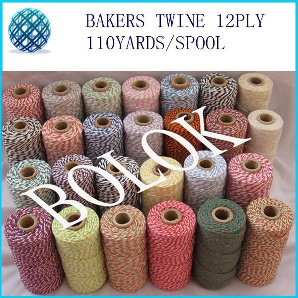26pcs / lot 100% bombaž Baker vrvice 110 jardov / tuljava dvobarvna - Prazniki in zabave
