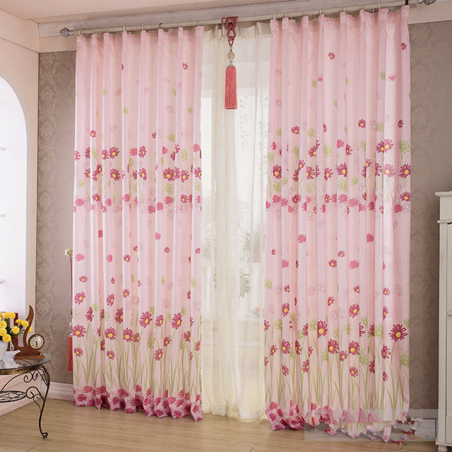 Pink Green Sunflowers Printed Window Curtains 100 * 200 CM Hook ...