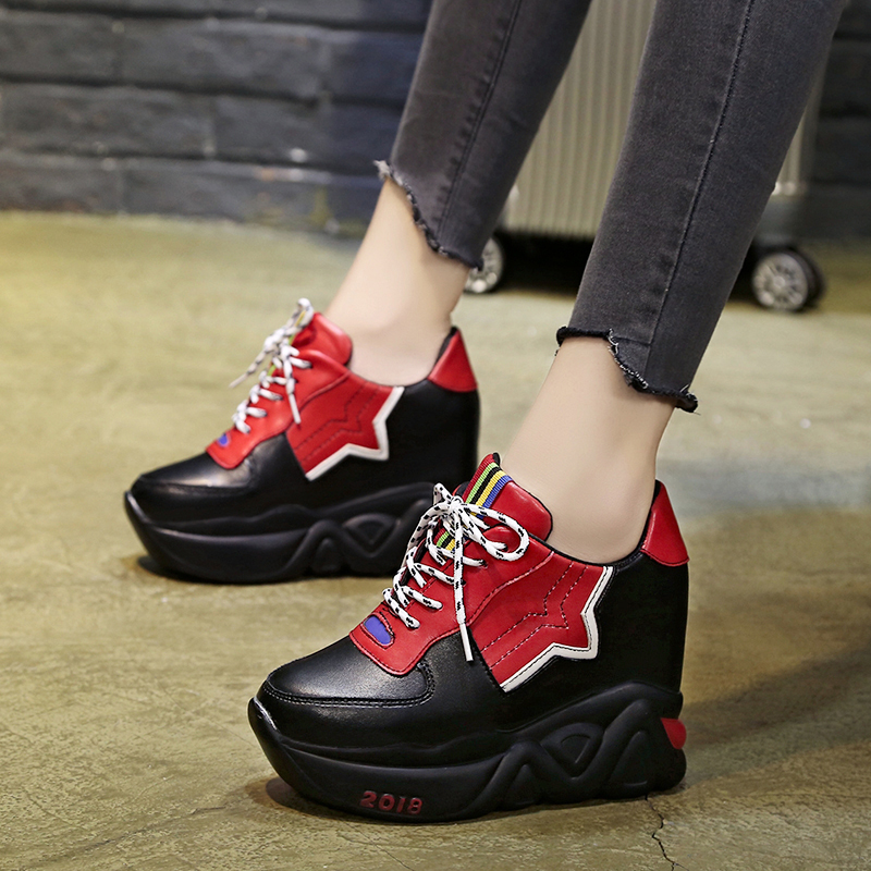 Kjstyrka 2018 Zapatillas Mujer summer autumn Casual mixed color women sneakers fashion increasing ladies wedges platform shoes 1