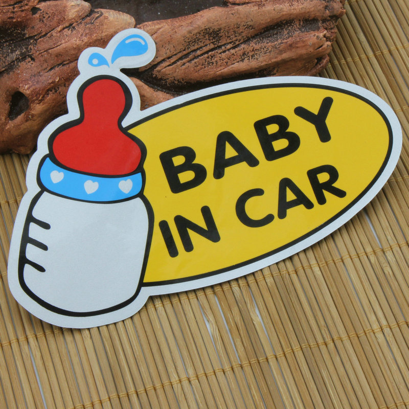 CDCOTN 2PCS Cartoon Car Sticker Baby In Motorcycle Interior Decoration Accessories Styling Stickers And Decals