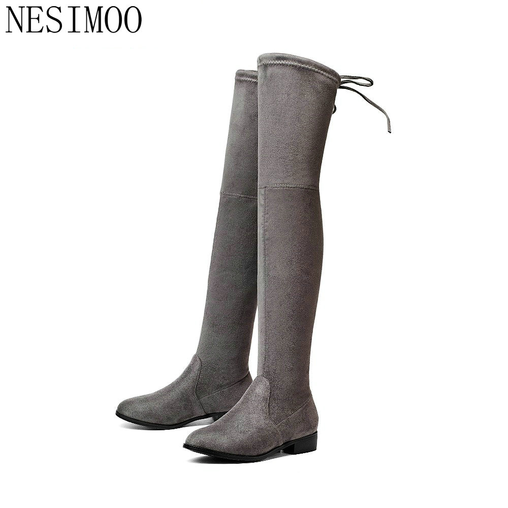 NESIMOO 2018 Women Over the Knee High Boots Square Heel Round Toe All Match Keep Warm Solid Ladies Motorcycle Boots Size 34-43