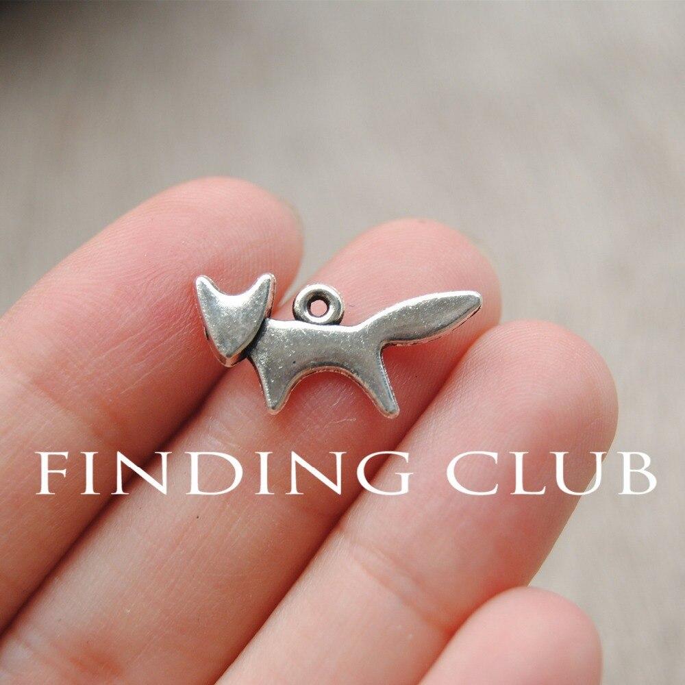 ᐅ50 unids 20x10mm zorro de plata antigua del colgante del encanto ...