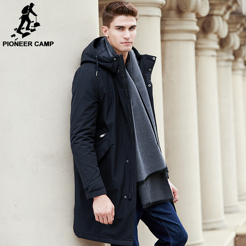 Pioneer Camp 2018 New arrival autumn winter  jacket men brand clothing cotton thick long coat male quality black outerwear