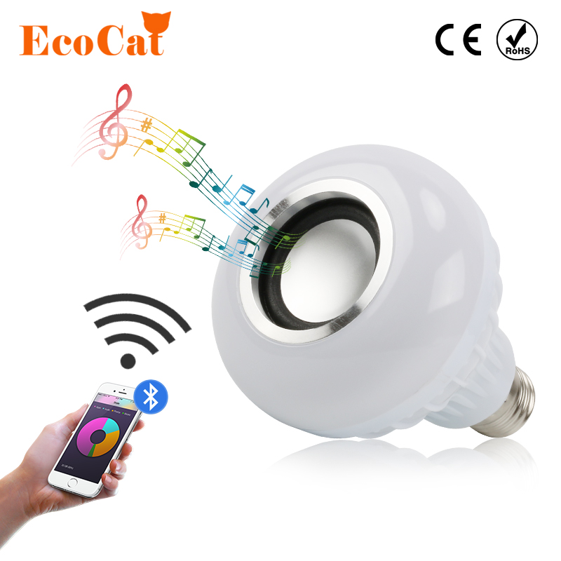 [ECO Cat] E27 LED Music light Smart Wireless Bluetooth Speaker Playing Dimmable LED RGB Music Bulb e27 smart rgb rgbw wireless bluetooth speaker bulb music playing dimmable led bulb light lamp with 24 keys remote control