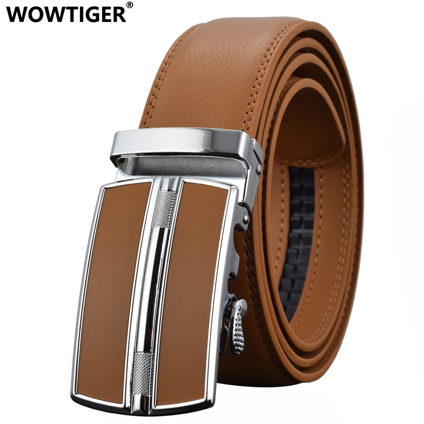 WOWTIGER Men`s Fashion Automatic Buckle Leather luxury Designer Male belt Waist Strap Belts for Men ceinture homme cinturon