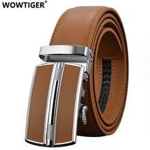 Wowtiger Мужская Мода автоматическая пряжка кожи роскошные дизайнерские мужской ремень поясной ремень Ремни для Для мужчин пригородам Cinturon