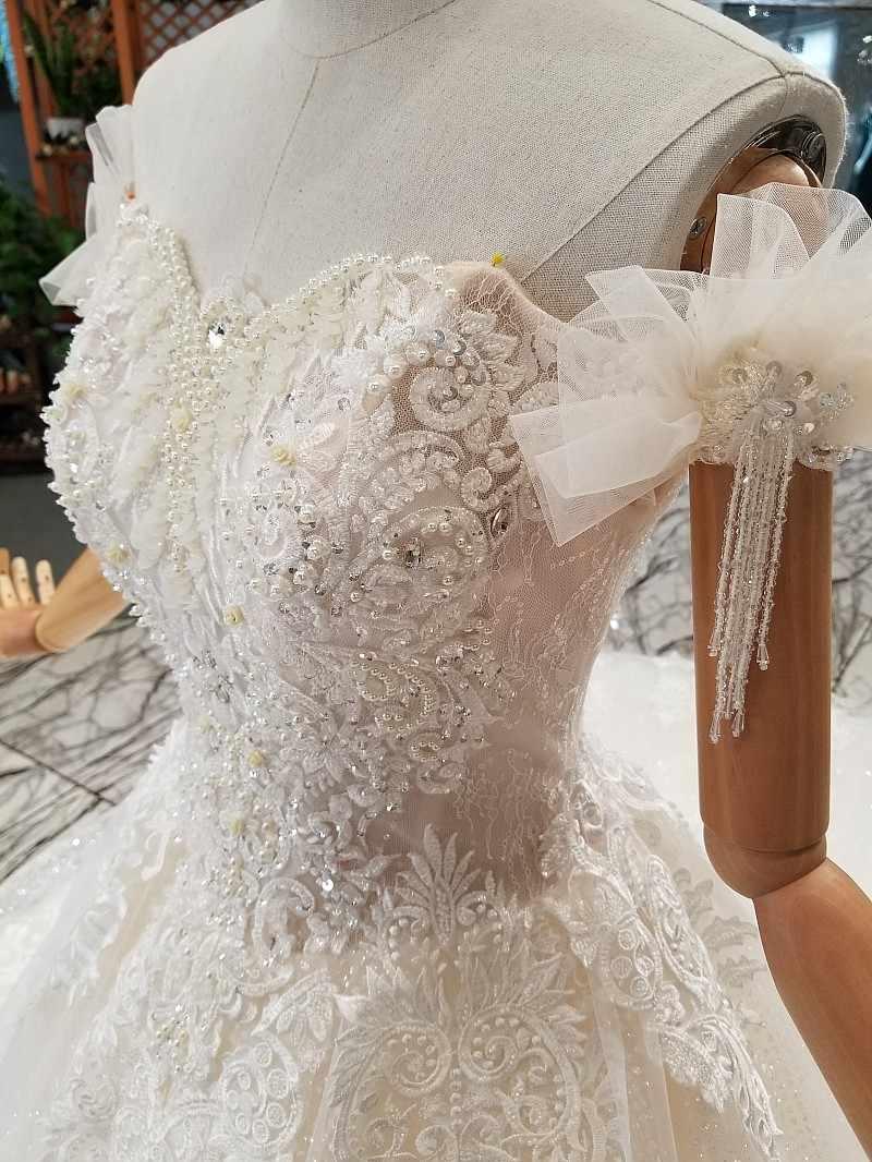 LS841441 พิเศษเรือคอยอดนิยมชุดแต่งงานปิดไหล่ ruffle ชุดบอลชุดแต่งงานชุด 2018 จีนออนไลน์