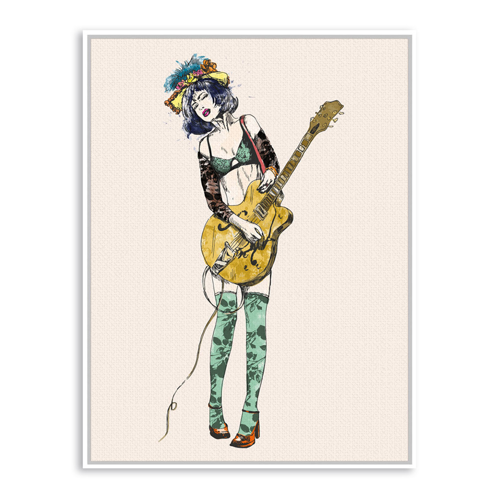 Vintage Retro Guitar Girl Pop Rock Roll Music A4 Large Art Print Poster  Hippie Wall Picture Canvas Painting No Framed Home Decor-in Painting &